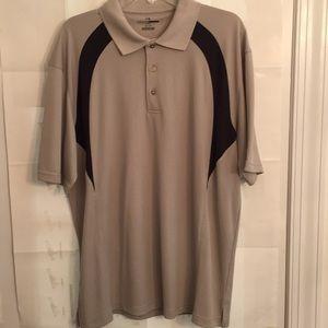 Grand Slam Men's Golf/Polo Shirt Size XL Tan W/Bl